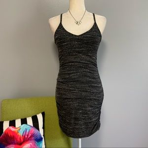 Splendid Grey Ruched Bodycon Dress C5